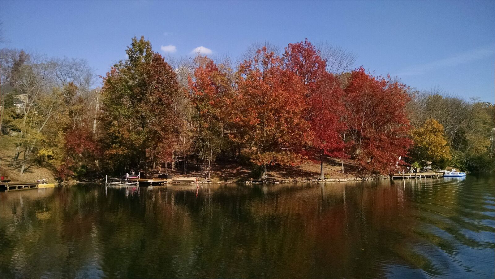 Colorful autumn trees on Hidden Valley Lake shoreline