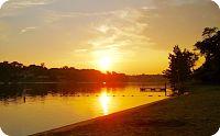 Golden beach sunset at Hidden Valley Lake
