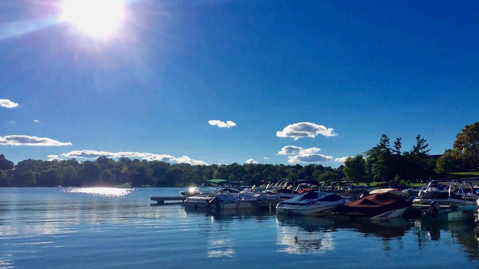September sun over Hidden Valley Lake marina